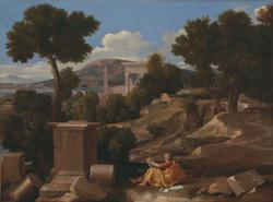パトモス島の聖ヨハネのいる風景
