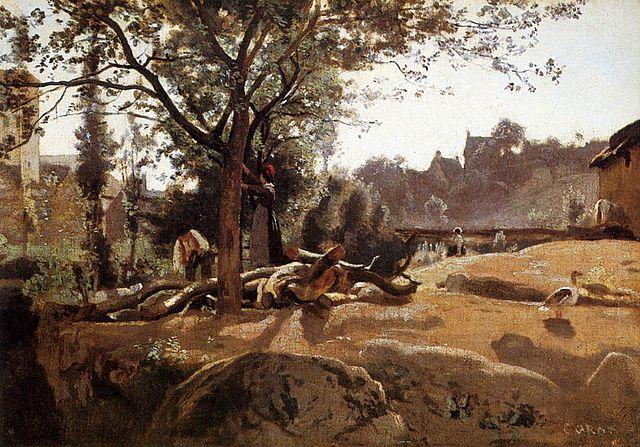 夜明けの木の下の農民