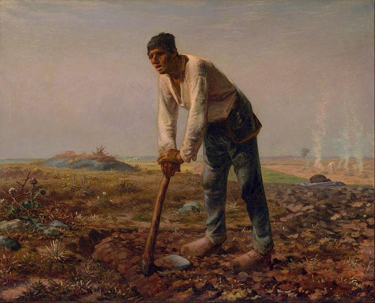 鍬を持つ男