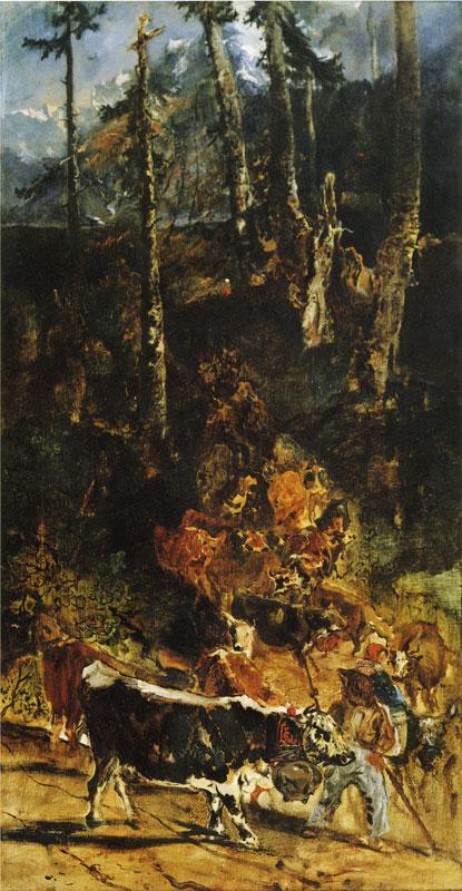 ジュラ高原から下る牛