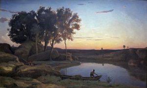 湖とボートマンの風景