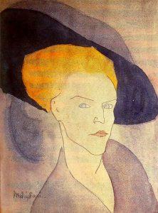 帽子を被った女性の頭