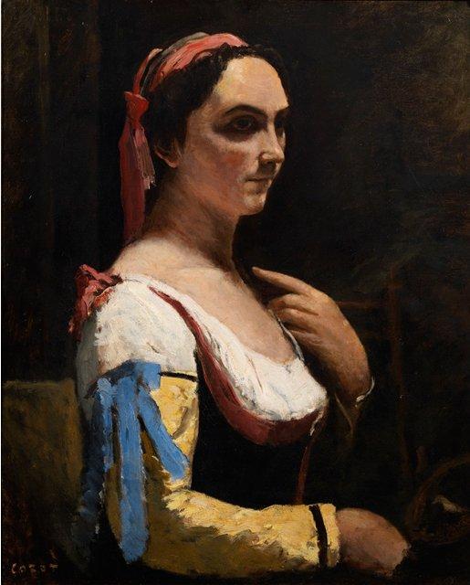 黄色い袖のイタリア女性