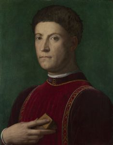 Bronzino, 1503 - 1572 Portrait of Piero de' Medici ('The Gouty') probably about 1550-70 Oil on wood, 58.4 x 45.1 cm Bequeathed by Sir W.R. Drake, 1891 NG1323 https://www.nationalgallery.org.uk/paintings/NG1323
