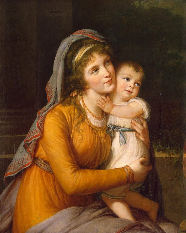 アナ・ストロガノフ伯爵夫人と息子