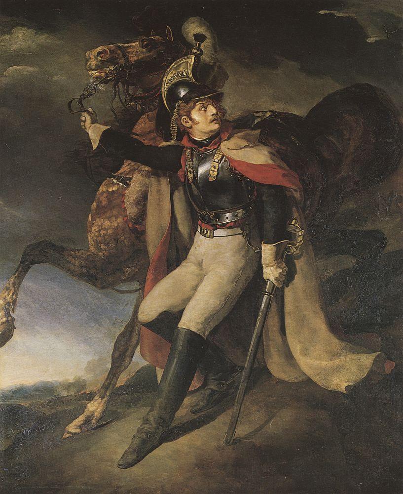 戦場から去る負傷した胸甲騎兵士官