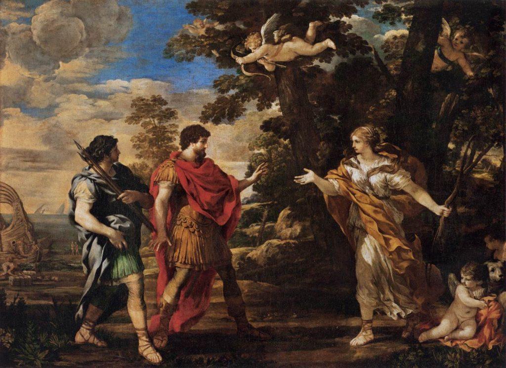 アイネイアスの前に現れる狩人に扮したヴィーナス