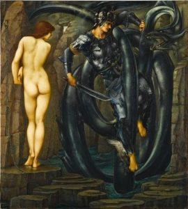 果たされた運命:大海蛇を退治するペルセウス
