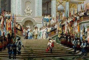 ヴェルサイユ宮殿で大コンデを迎えるルイ14世