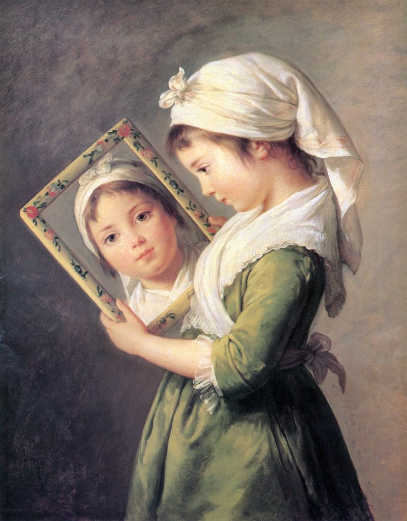 鏡を覗き込むジュリー・ルブラン
