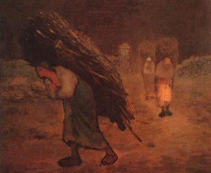 冬、薪を運ぶ女