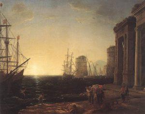 夕暮れの港湾風景