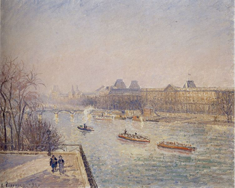 ポン・ヌフから見たルーヴル宮殿、霜の降りた冬の朝の陽射し