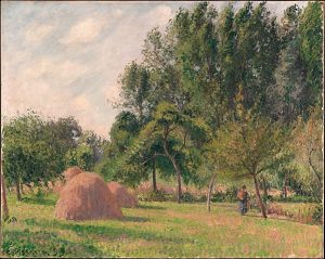 Camille Pissarro (French, Charlotte Amalie, Saint Thomas 1830–1903 Paris) Haystacks, Morning, Éragny, 1899 Oil on canvas; 25 x 31 1/2 in. (63.5 x 80 cm) The Metropolitan Museum of Art, New York, Bequest of Douglas Dillon, 2003 (2004.359) http://www.metmuseum.org/Collections/search-the-collections/438738