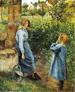 井戸端の若い女と子供