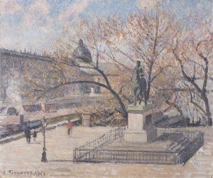 ポン・ヌフ、アンリⅣ世の像、朝、陽光
