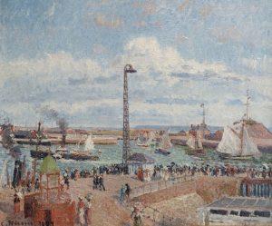 水先案内船の入り江と東の防波堤、ル・アーヴル、午後、晴天