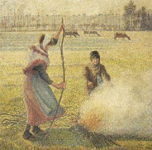 火を起こす農民の少女