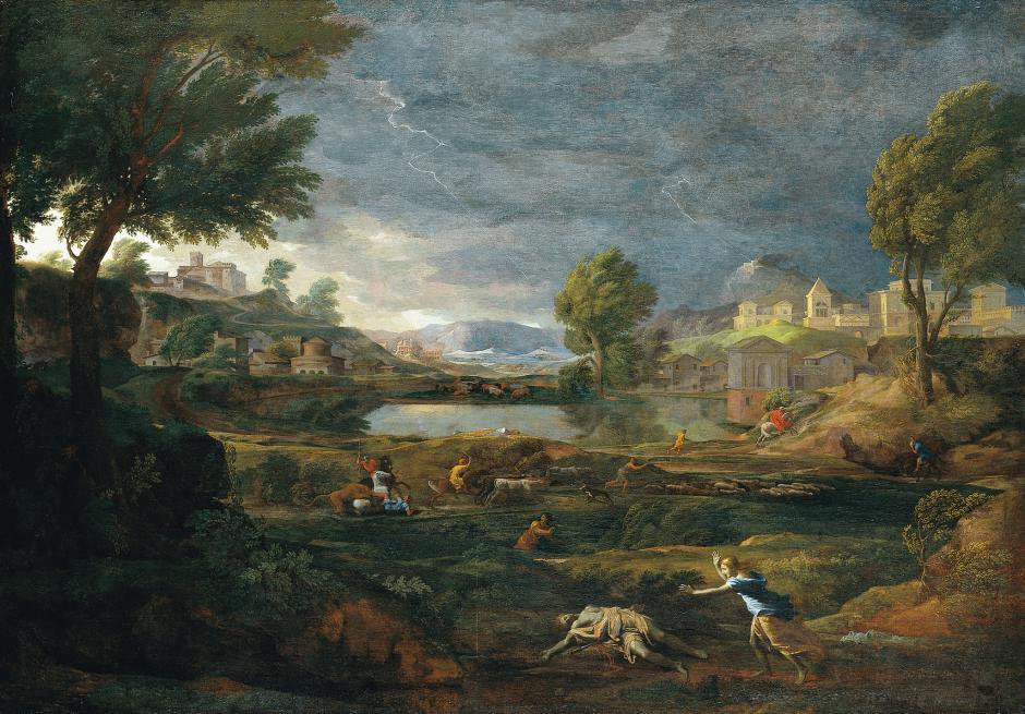 ピュラモスとティスベのいる嵐の風景