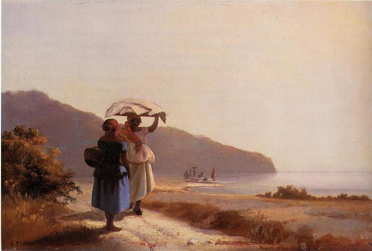 海の傍で雑談する二人の女たち、セント・トーマス島