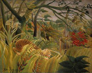 熱帯嵐のなかのトラ