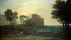 プシュケがキューピットの宮殿外にいる風景