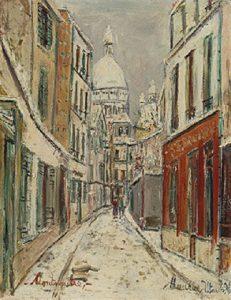 サン・リュスティック通り、モンマルトル、雪