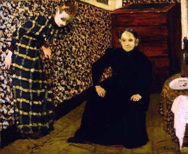 室内、画家の母親と姉