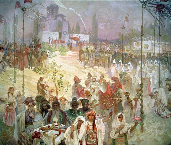 セルビア皇帝ドゥシャンの東ローマ帝国皇帝即位:連作スラヴ叙事詩より