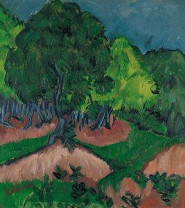 栗の木のある風景