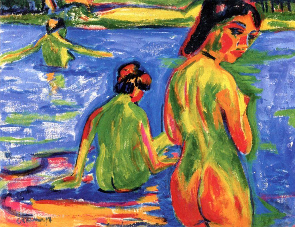 モーリッツブルグ湖で水浴びをする少女たち