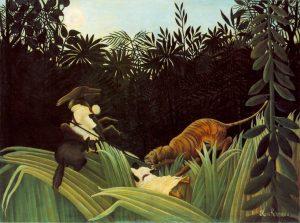 トラに襲われる斥候