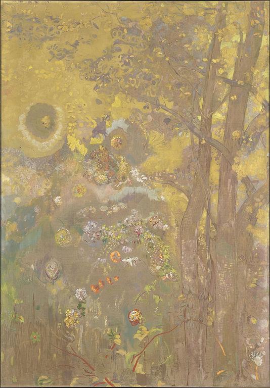 黄色い背景の木々