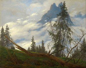 山頂と漂う雲