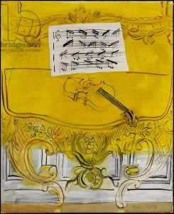 ONT95917 The Yellow Console with a Violin, 1949 (oil on canvas) by Dufy, Raoul (1877-1953); 100.3x81.2 cm; Art Gallery of Ontario, Toronto, Canada; Gift of Sam and Ayala Zacks, 1970; OVERLAY OF TEXT & CROPPING FORBIDDEN; French,  in copyright.  PLEASE NOTE: This image is protected by the artist's copyright which needs to be cleared by you. If you require assistance in clearing permission we will be pleased to help you.