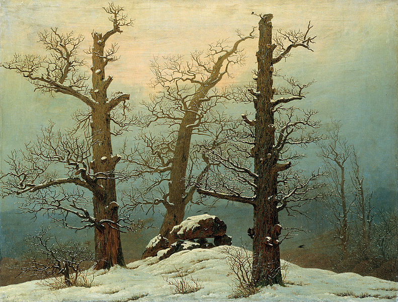 雪の中の巨石塚