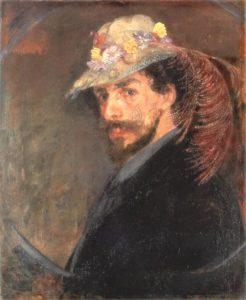 花飾りの帽子を被った自画像