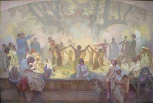 スラヴの菩提樹の下で誓いを立てる若者たち:連作スラヴ叙事詩より