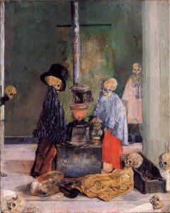 暖を取る骸骨たち