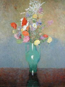 LEF222147 The Green Vase, c.1900 (oil on canvas) by Redon, Odilon (1840-1916) oil on canvas 73x54 Private Collection © Lefevre Fine Art Ltd., London French, out of copyright