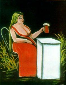 ビールジョッキを持つ女