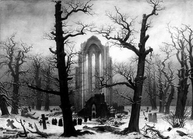 雪の中の修道院墓地