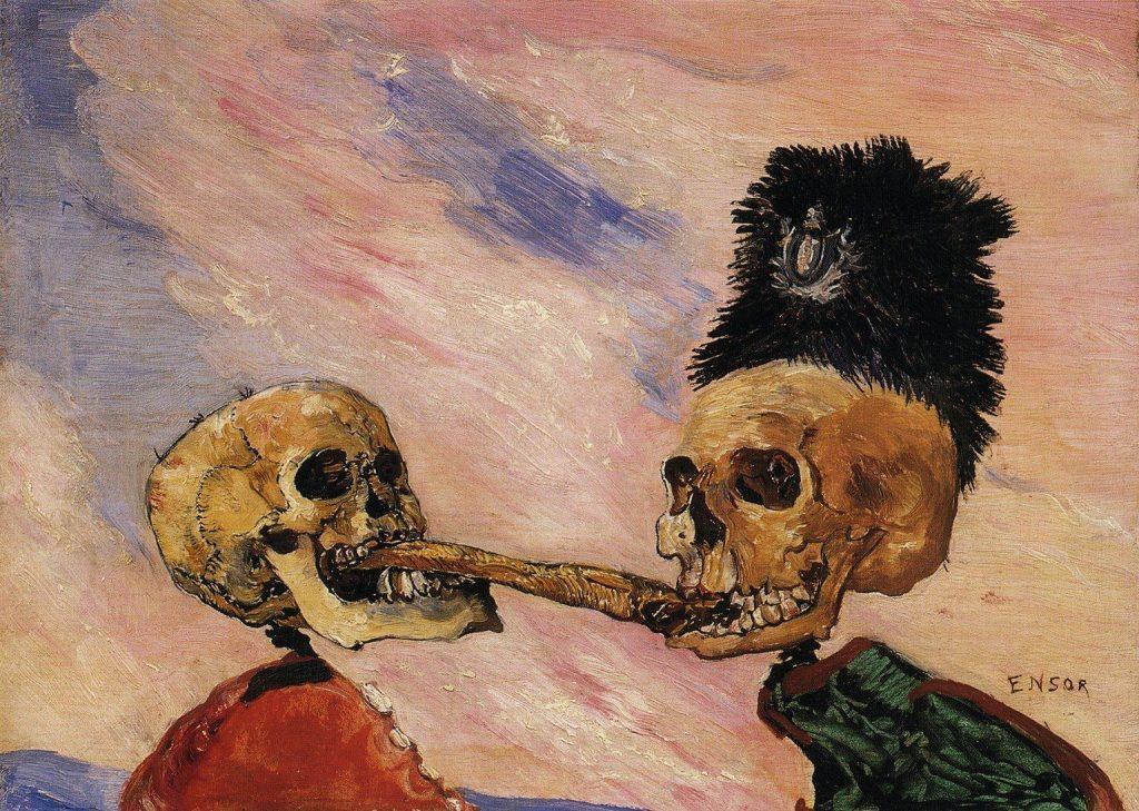 酢漬けのニシンを奪い合う骸骨たち