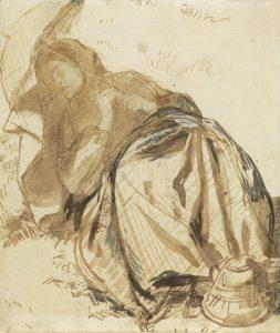 傘を持ち休息するエリザベス・シダルの肖像
