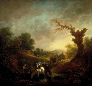 Sunset: Carthorses Drinking at a Stream c.1760 by Thomas Gainsborough 1727-1788