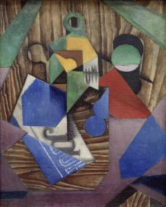 Bottle of Rum and Newspaper 1913-4 Juan Gris 1887-1927 Presented by Gustav and Elly Kahnweiler 1974, accessioned 1994 http://www.tate.org.uk/art/work/T06808