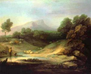 羊飼いのいる山の風景