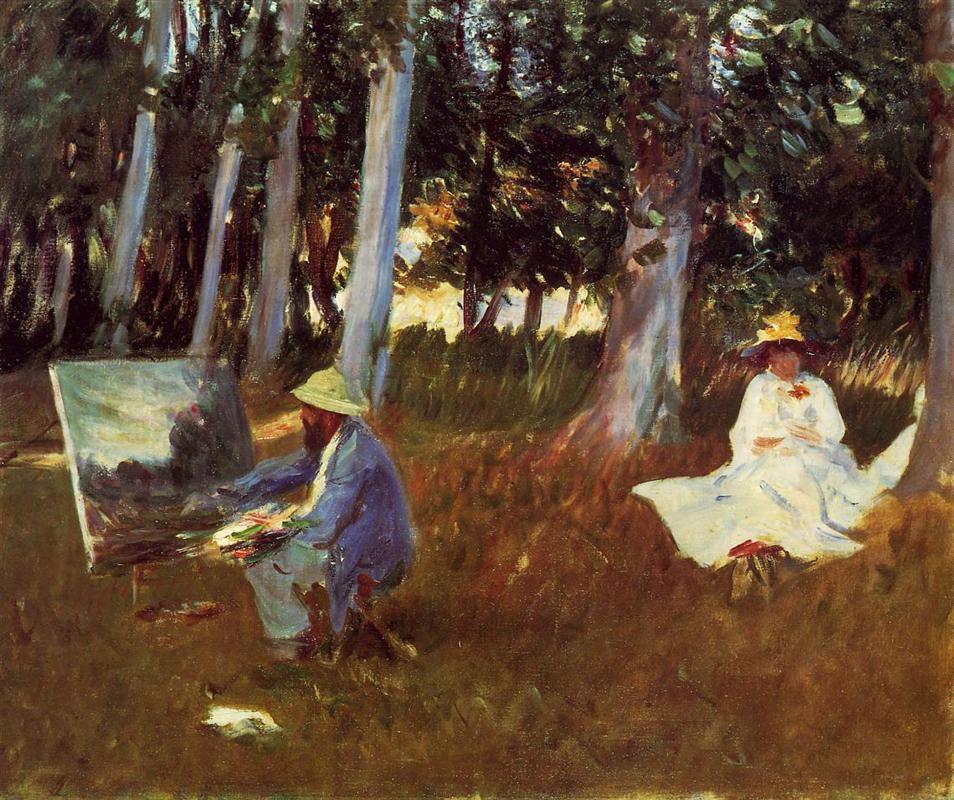 森の端で絵を描くクロード・モネ