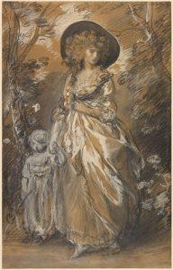 子供と庭園を散歩する貴婦人