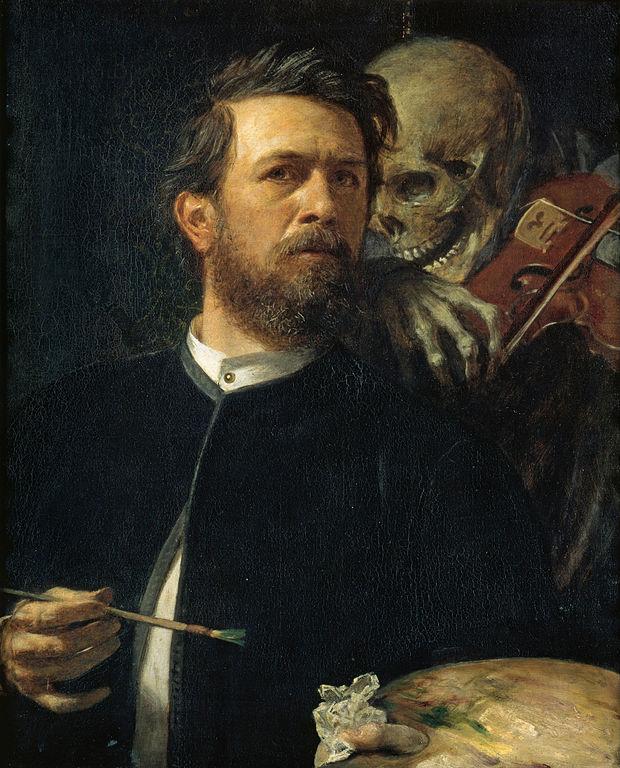 ヴァイオリンを弾く死神のいる自画像